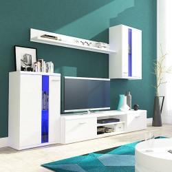 Biele obývacie steny s modrou stenou